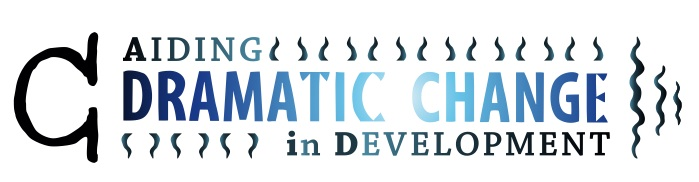 Aiding Dramatic Change in Development blue and black logo