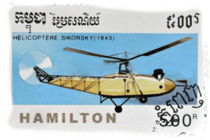Old Fashioned stamp from Cambodia with Hamilton and yellow Helicopter